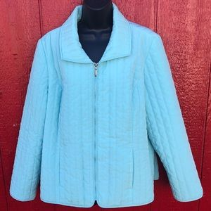 Chico's size 3 baby blue Quilted full zip jacket